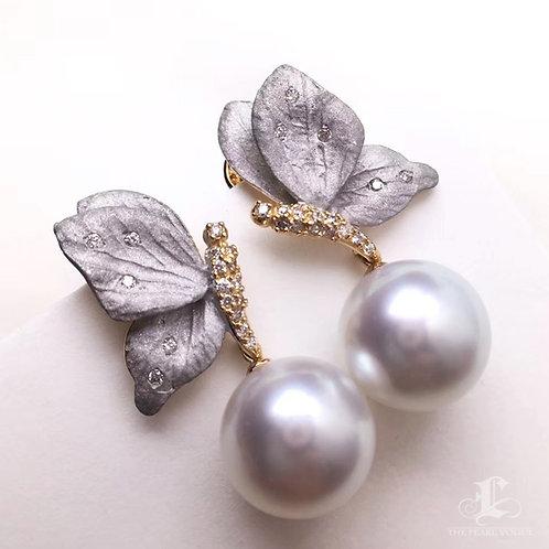 AAAA 11-12mm White South Sea Pearl Earrings, 18k Gold w/ Diamond
