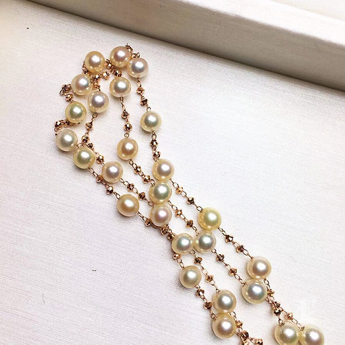 80cm Long Chain, AA 4-4.5mm Baby Akoya Pearl Tin Cup Sweater Necklace 18k Gold