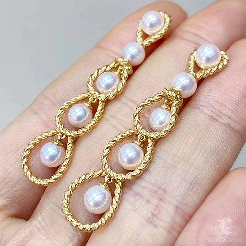 AAAA 5-6 mm Akoya Pearl Earrings 18k Gold