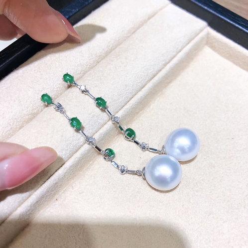 1.5ct Emerald, AAAA 11-12 mm South Sea Pearl Royal Earrings 18k Gold w/ Diamond