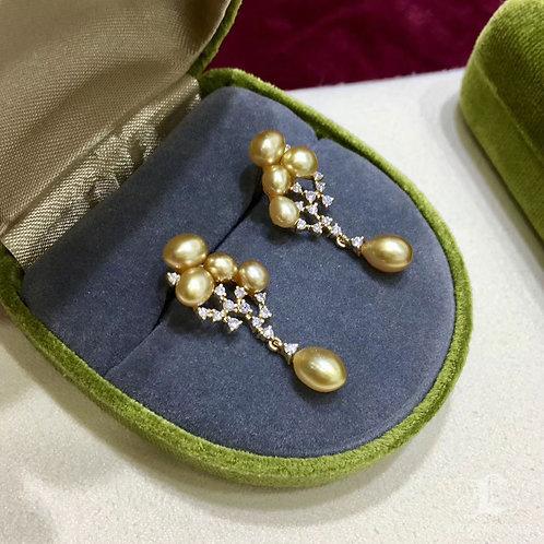 0.38ct Diamond KESHI Wild South Sea Pearl Earrings 18k Gold