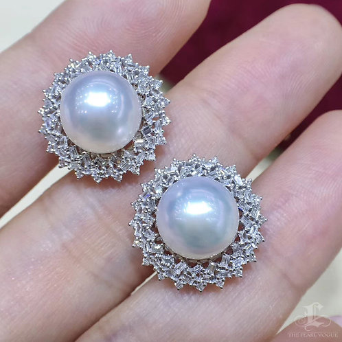 0.60ct Diamond, AAAA 9-10 mm South Sea Pearl  Earrings 18k Gold