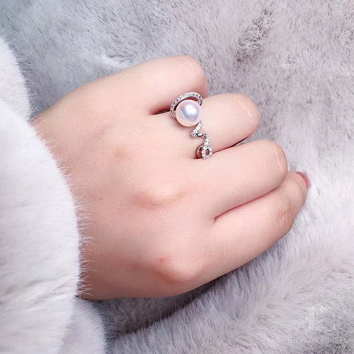 "AAAA 8-8.5mm Akoya Pearl ""LOVE"" Ring, 18k White Gold w/ Diamond"