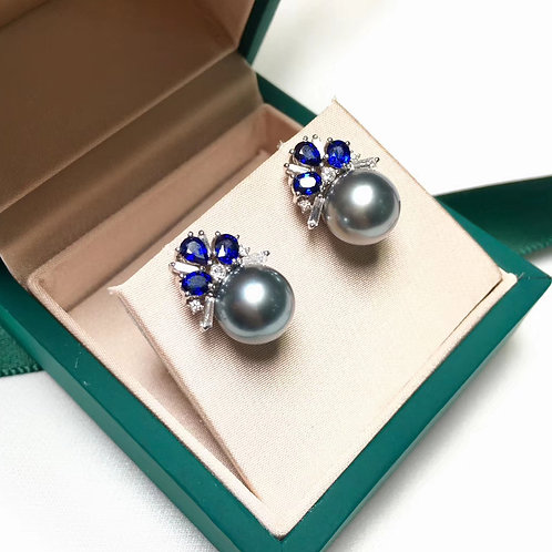 1.62ct Sapphire AAAA 9-10 mm Tahitian Pearl Earrings, 18k White Gold w/ Diamond