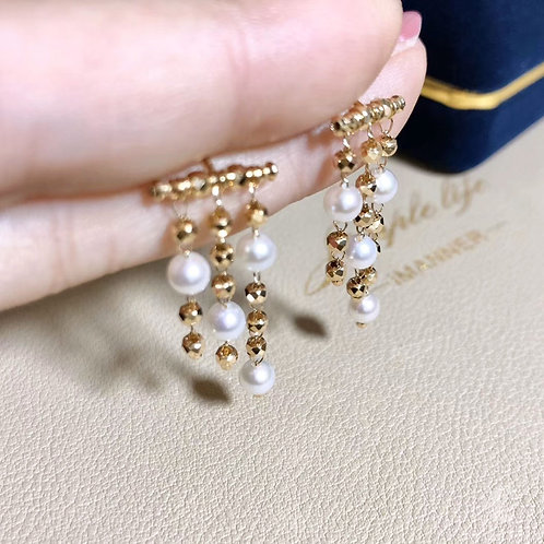 AAAA 3.5-4 mm Akoya Pearl Tassel Earrings 18k Gold