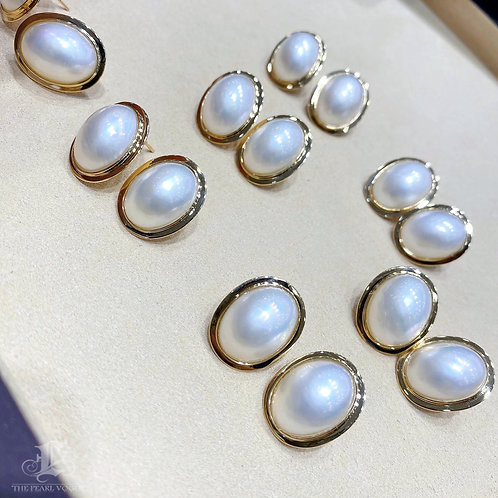 AAA 12 x 16 mm Oval Mabe Pearl  Retro Earrings 18k Gold