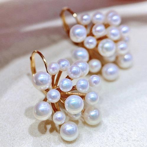 AAAA 3-5 mm Freshwater Pearl Earrings 18k Gold