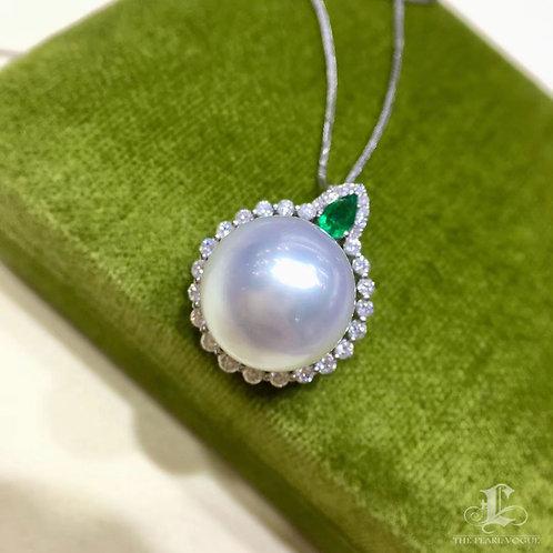 0.63ct Diamond, AAAA 14-15mm South Sea Pearl Pendant, 18k White Gold w/ Emerald