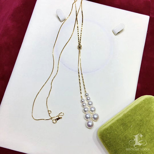72cm Long Chain, AAAA 5-9 mm Akoya Pearl Classic Necklace 18k Gold