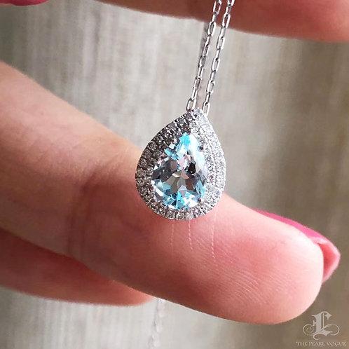 0.60 ct Blue Natural Aquamarine Pendant 18k Gold Diamond w/ Certificate