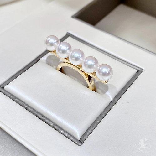 AAAA 6.5-7 mm Akoya Pearl Ring, Balance Series 18k Gold