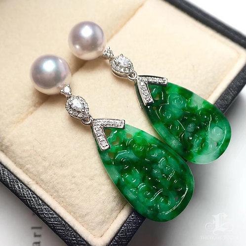 Akoya Pearl & Natural Burmese Spicy Green Jadeite A Earrings 18k Gold w/ Diamond