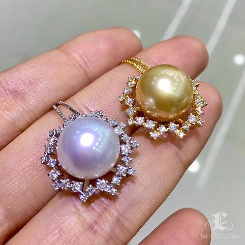 0.62ct Diamond AAAA 12-13 mm South Sea Pearl Classic Pendant, 18k Gold
