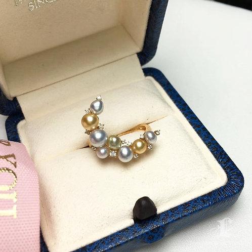 0.12ct Diamond KESHI 3.5-5.5 mm Wild South Sea Pearl Ring 18k Gold
