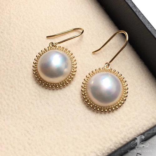 12-13mm Mabe Pearl Earrings 18k Gold - AAAA