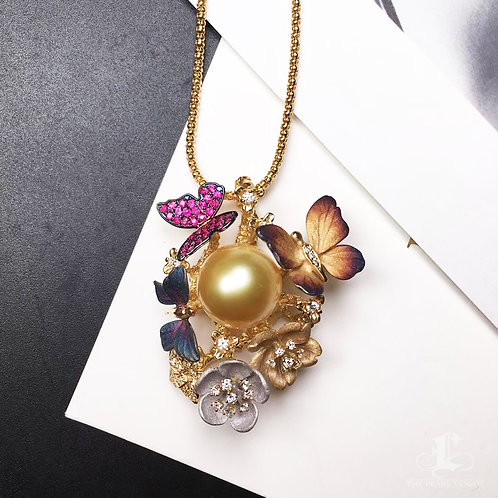 CUSTOMIZE | AAAA 13-14mm Golden South Sea Pearl Pendant, 18k Gold w/ Diamond