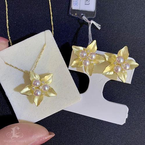 AAAA 4-5 mm Aurora Akoya Pearl Flower Pendant 18k Gold w/ Diamond