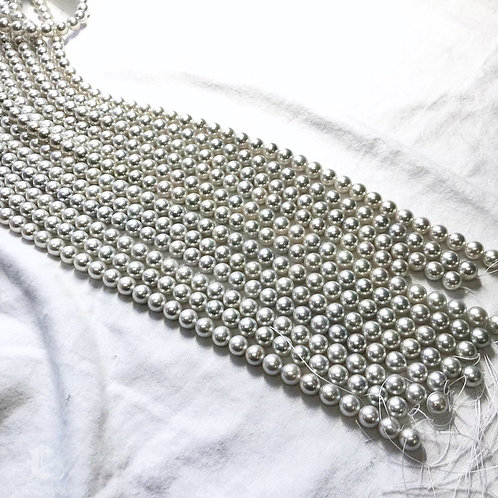 45 cm AAA 9.5-10 mm Silver Akoya Pearl Classic Necklace