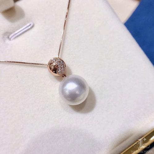 AAAA 13 mm South Sea Pearl Pendant 18k Rose Gold w/ Diamond