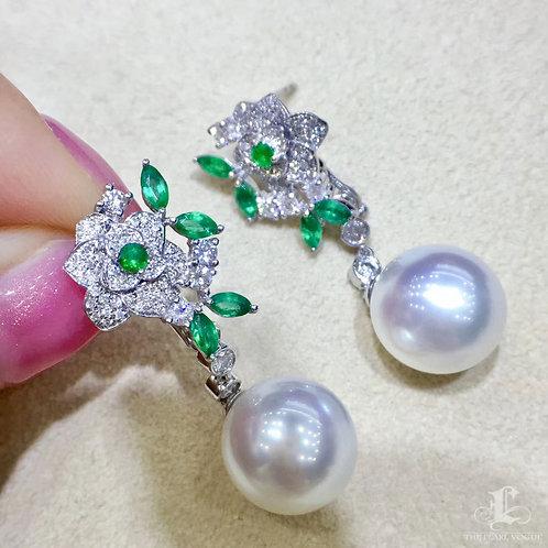 0.68ct Diamond, AAAA 11-12 mm South Sea Pearl Earrings 18k Gold w/ Emerald