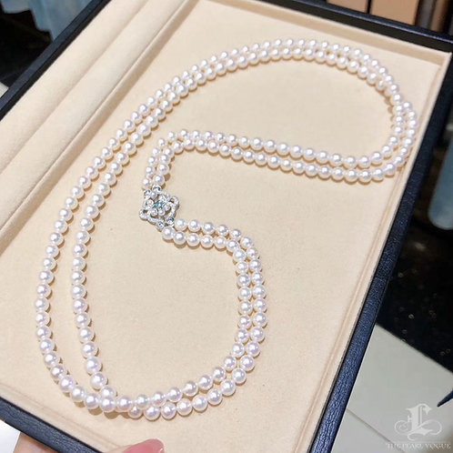 71cm 18k Gold Sapphire Clasp, AAAA 6-6.5 mm Akoya Pearl Double Strand Necklace