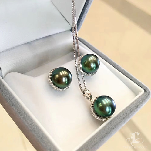 0.13ct Diamond AAAA 9-10 mm Tahitian Pearl Pendant, 18k White Gold