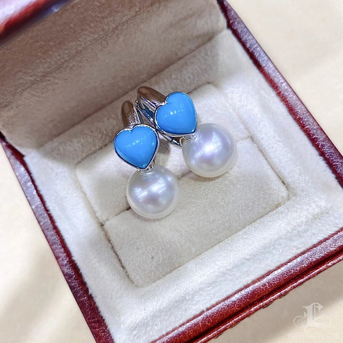 Natural Turquoise, 11-12 mm Pinctada Maxima|白蝶 Pearl Earrings 18k Gold