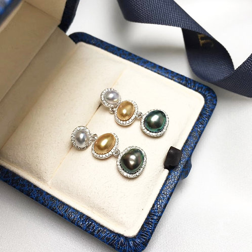 0.60ct Diamond KESHI 6-8 mm Wild Multiple Pearl Earrings 18k Gold