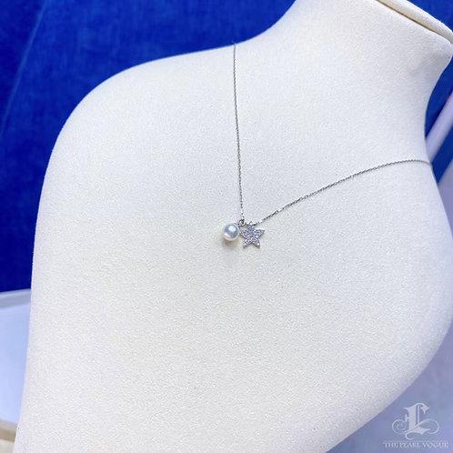 0.12 ct Diamond, AAAA 5-6 mm Baby Akoya Pearl Double Pendant 18k Gold