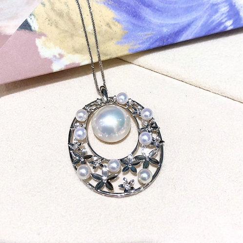 AAAA 14-15 mm Mabe Pearl Classic Pendant 18k Gold Akoya Pearl