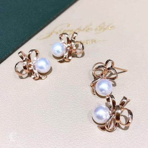AAAA 7-7.5 mm Akoya Pearl Fashion Earrings 18k Rose Gold