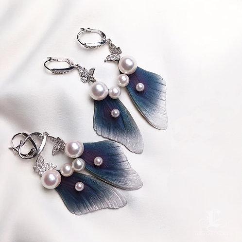 AAAA 4-8.5mm Akoya Pearl Wing-Shape Earrings, 18k White Gold w/ Diamond
