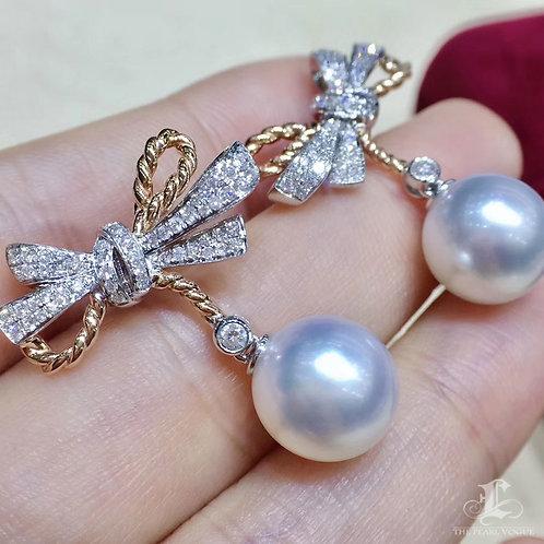 0.68ct Diamond, AAAA 10-11 mm South Sea Pearl Luxury Earrings 18k Gold