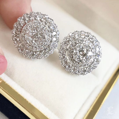 3.00 ct GH/SI Micro-Pave Natural Diamond Stud Earrings 18k Gold