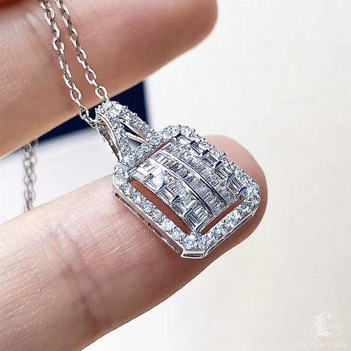 0.50 ct FG/SI Micro-Pave Natural Diamond Pendant Necklace 18k Gold