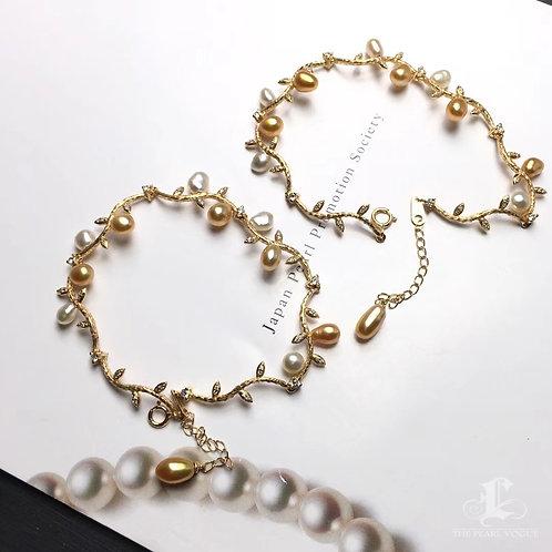 KESHI 4.6mm Wild Golden South Sea Pearl Bracelet 18k Gold w/ Diamond