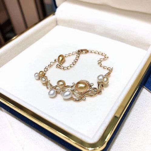 0.22ct Diamond KESHI Wild Golden South Sea Pearl Bracelet 18k Gold