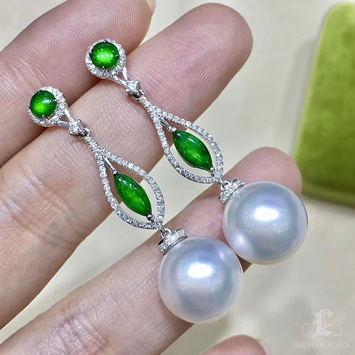 Royal Green Jade, AAAA 12-13 mm South Sea Pearl Earrings 18k Gold w/ Diamond