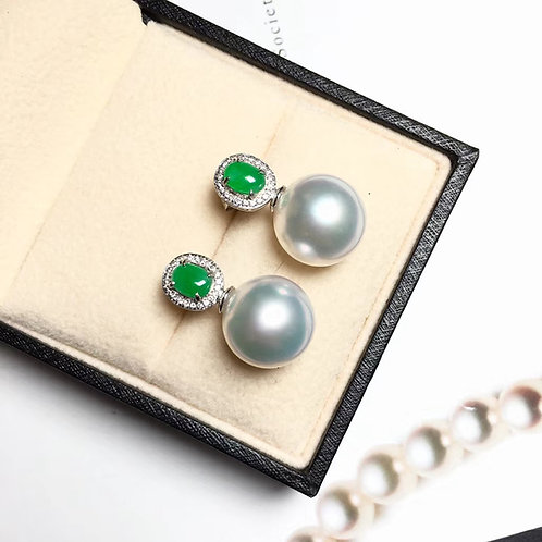 0.20ct Diamond AAAA 12-13mm South Sea Pearl Earrings, 18k Gold w/ Jadeite