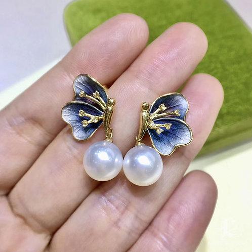 9-10 mm South Sea Pearl Butterfly Earrings, 18k Gold w/ Diamond - AAAA