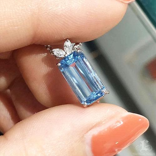 2.82 ct Blue Natural Aquamarine Pendant PT Gold Diamond w/ Certificate