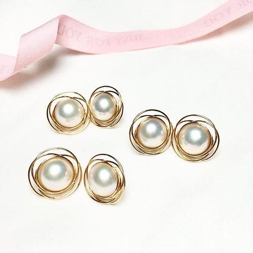 12-13mm Mabe Pearl Earring 18k Gold - AAAA