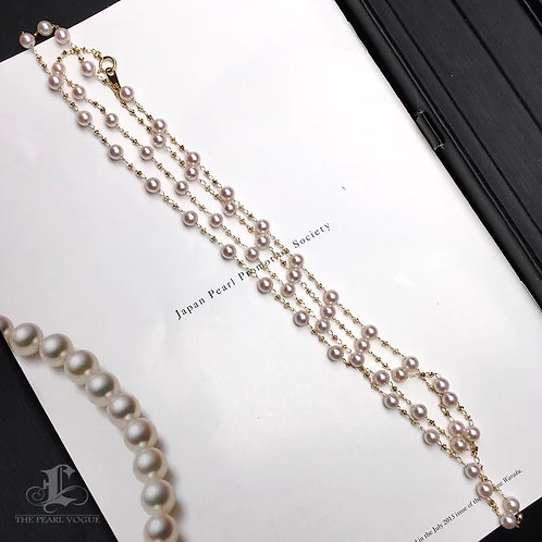 90cm Long Chain, AA+ 4-4.5mm Baby Akoya Pearl Tin Cup Necklace 18k Gold