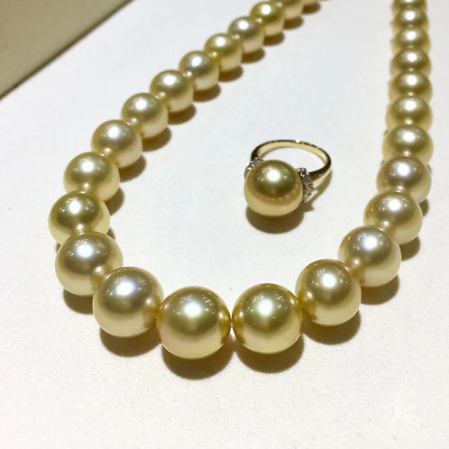 45cm 11-13.2 mm Golden Pearl Classic Necklace w/ Japanese Certificate