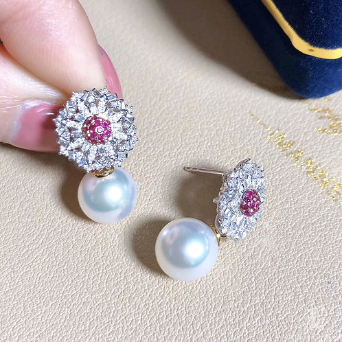 0.45 ct Diamond AAAA 9.5-10 mm South Sea Pearl Earrings 18k Gold w/ Ruby