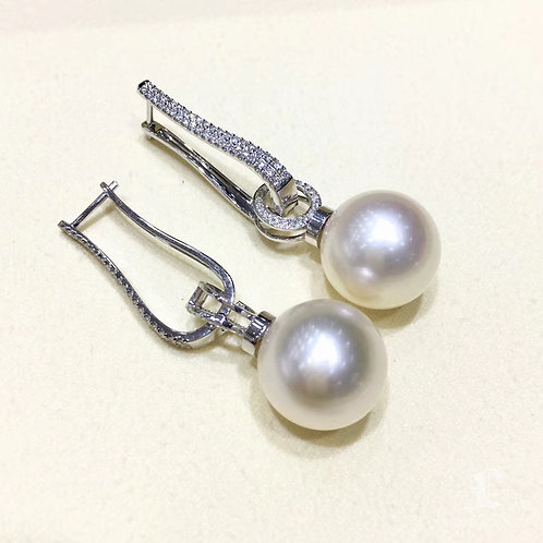 0.75ct Diamond AAA 14-15mm South Sea Pearl Classic Earrings, 18k Gold