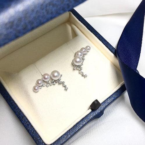 0.32 ct Diamond, AAAA 4-5.5 mm Baby Akoya Pearl Fashion Earrings, 18k Gold