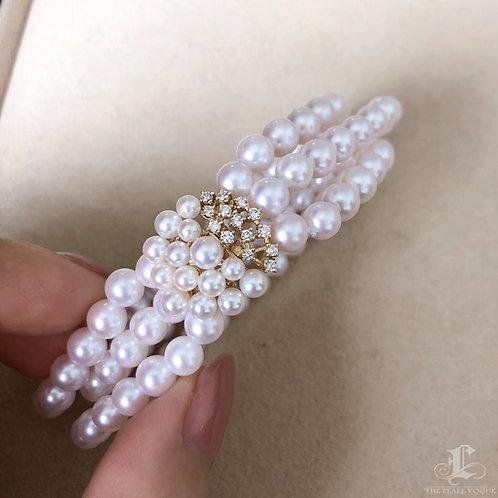 0.33 ct Diamond AAAA 6-7  mm Akoya Pearl Triple Strand Bracelet 18k Gold