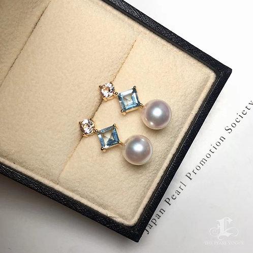 1.3ct Aquamarine, AAAA 8-8.5mm Akoya Pearl Earrings, 18k Gold w/ Goshenite
