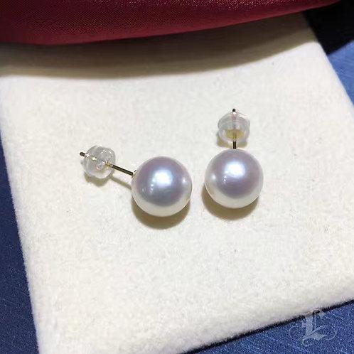 AAAA 9-9.5mm Akoya Pearl Classic Stud Earrings w/ 18k Gold